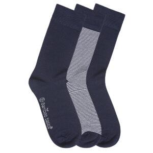 BEAU 3-pack sokken navy gestreept
