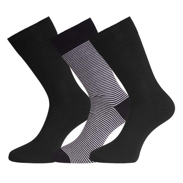 BEAU 3-pack sokken zwart gestreept