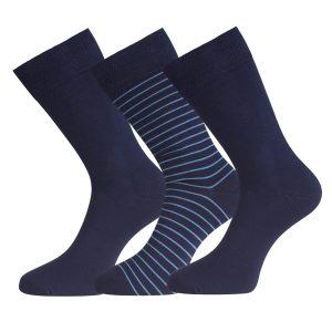 BEAU 3-pack sokken navy breed gestreept