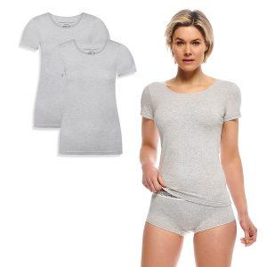 KATE T-shirt 2-pack light grey melange