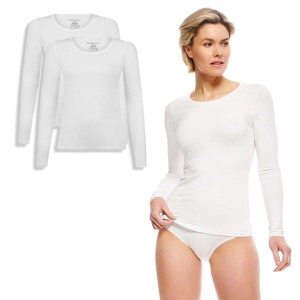LARA t-shirt lange mouw wit