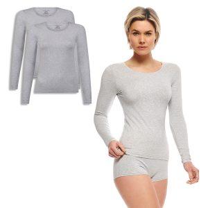 LARA t-shirt lange mouw light grey melange