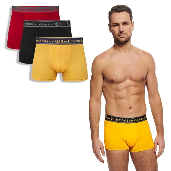 LIAM trunk boxershort rood, zwart, okergeel