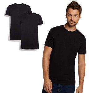 T-shirt van bamboe, ronde hals, zwart