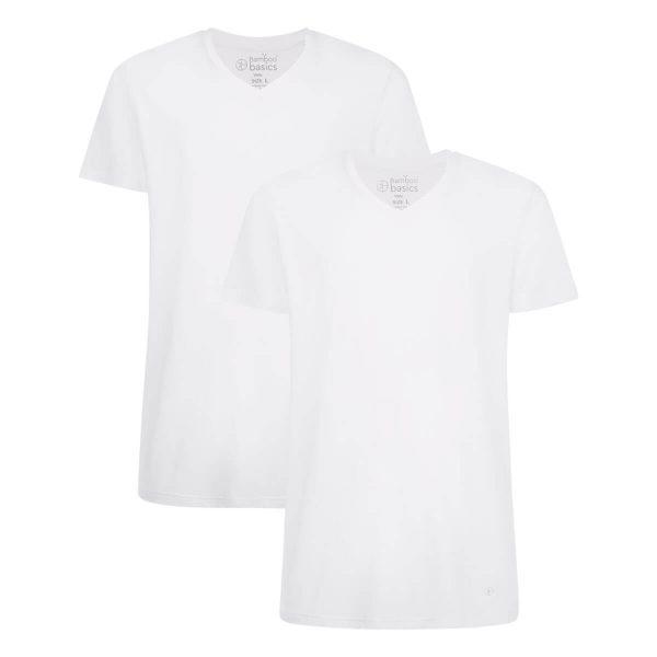 t_shirt van Bamboe, v-hals, wit