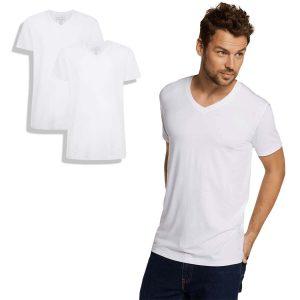 T-shirt van bamboe, v-hals, wit