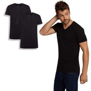 T-shirt van bamboe, v-hals, zwart