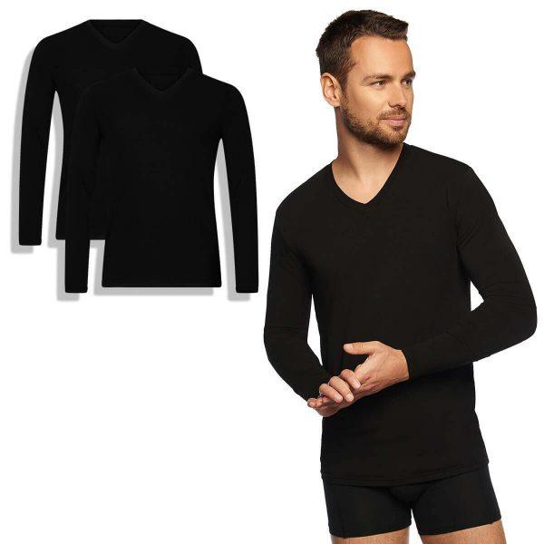 bamboe t-shirt lange mouw 2-pack zwart