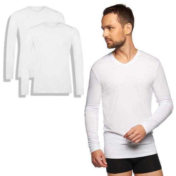 bamboe t-shirts lange mouw wit 2-pack