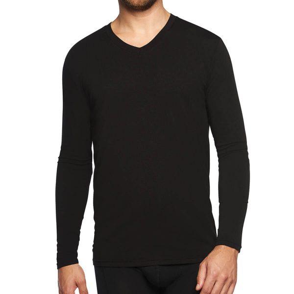 voorkant bamboe t-shirt lange mouw zwart
