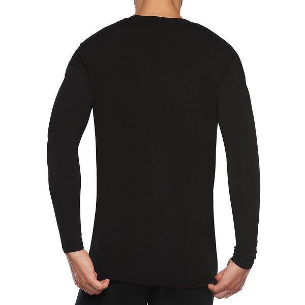 achterkant bamboe t-shirt lange mouw zwart