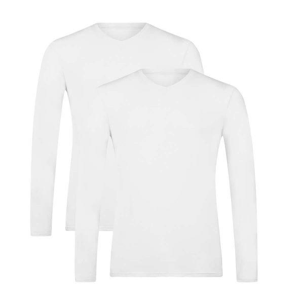 bamboe t-shirts lange mouw 2-pack wit