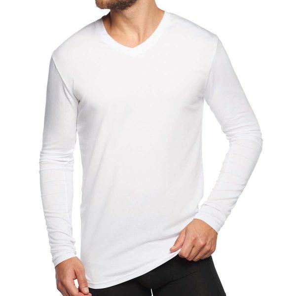 voorkant bamboe t-shirt lange mouw wit