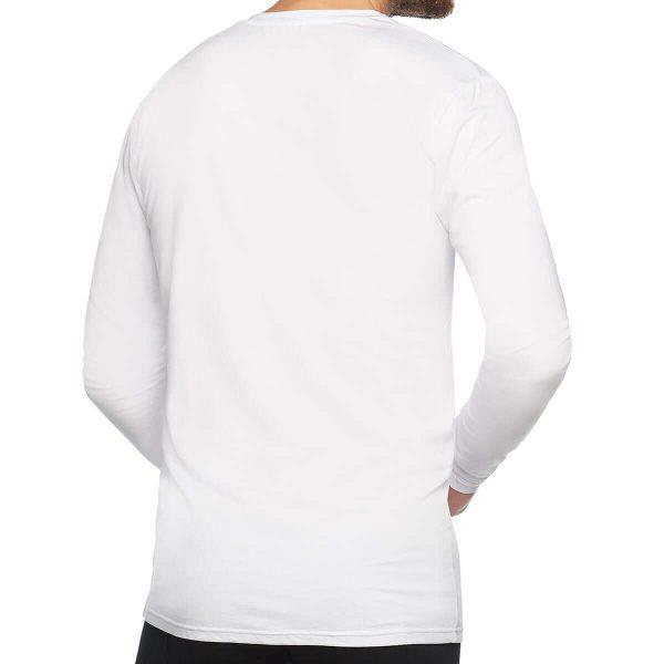 achterkant bamboe t-shirt lange mouw wit