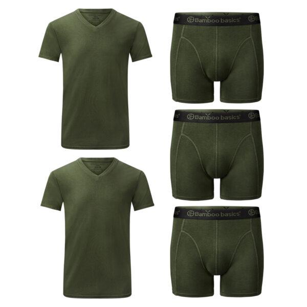 voordeelbundel t-shirts boxershorts army
